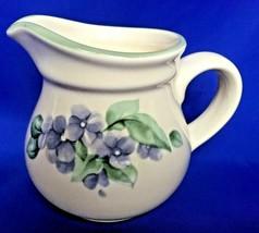 Pfaltzgraff Creamer GARDEN PARTY Pattern Stoneware Pitcher Violets Flowers  - $8.86
