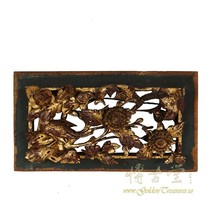 An item in the Antiques category: Chinese Antique 3D wood carving Gold Flake panel 19LP63