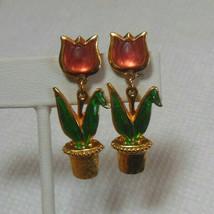 Avon Gold-tone Pierced Tulip Flower Plant Earrings  - $13.85