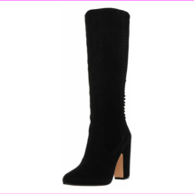 Vince Camuto Coranna Suede Fringe Detailed Tall Shaft Boots Black, Size 8.5 M - $84.69