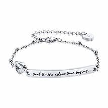 Dec.bells Graduation Bracelet Silver Charm Bracelet with Bar Heart and s... - $12.92