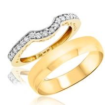 14K Yellow Gold Fn 0.25 Cts Sim CZ Diamond Men And Women's Wedding Band ... - $102.99