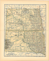 Original 1903 Antique Map Population Table South Dakota Dodd Mead & Co 1... - $26.48