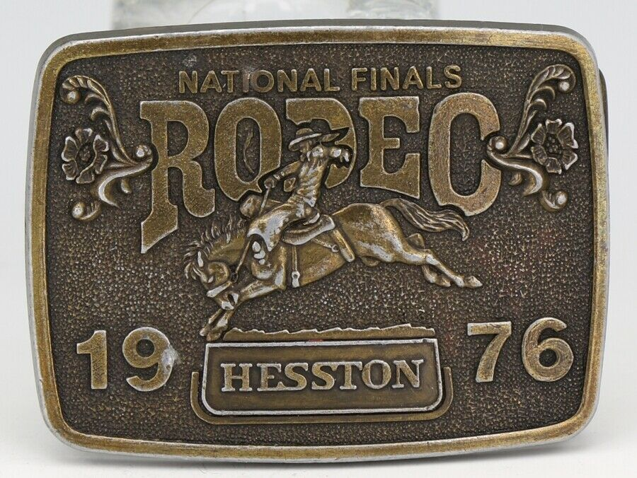 1975 Hesston National Finals Rodeo Belt Buckle - Plated White Metal