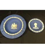 Vintage Wedgwood Jasper Lot of 2 Plates Silver Jubilee 1952-1977 Cobalt ... - $24.99
