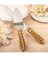 Gold lattice botanical collection engraved stainless cake knife set  - $14.99
