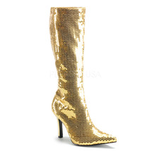 "FUNTASMA Lust-2001SQ Series 3 3/4"" Heel Knee-High Boots - Gold Sequins - $45.95"