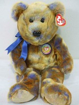 "Ty Beanie Babies Bear Official Club 2000 Clubby III Brown Blue 14"" Tall  - $9.85"