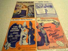 LOT OF 4 Vintage SHEET MUSIC Sets: Rita Hayworth/Betty Grable Covers - $17.77