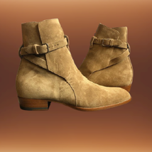 Handmade Men Monkstrap Beige High Ankle Boots image 1