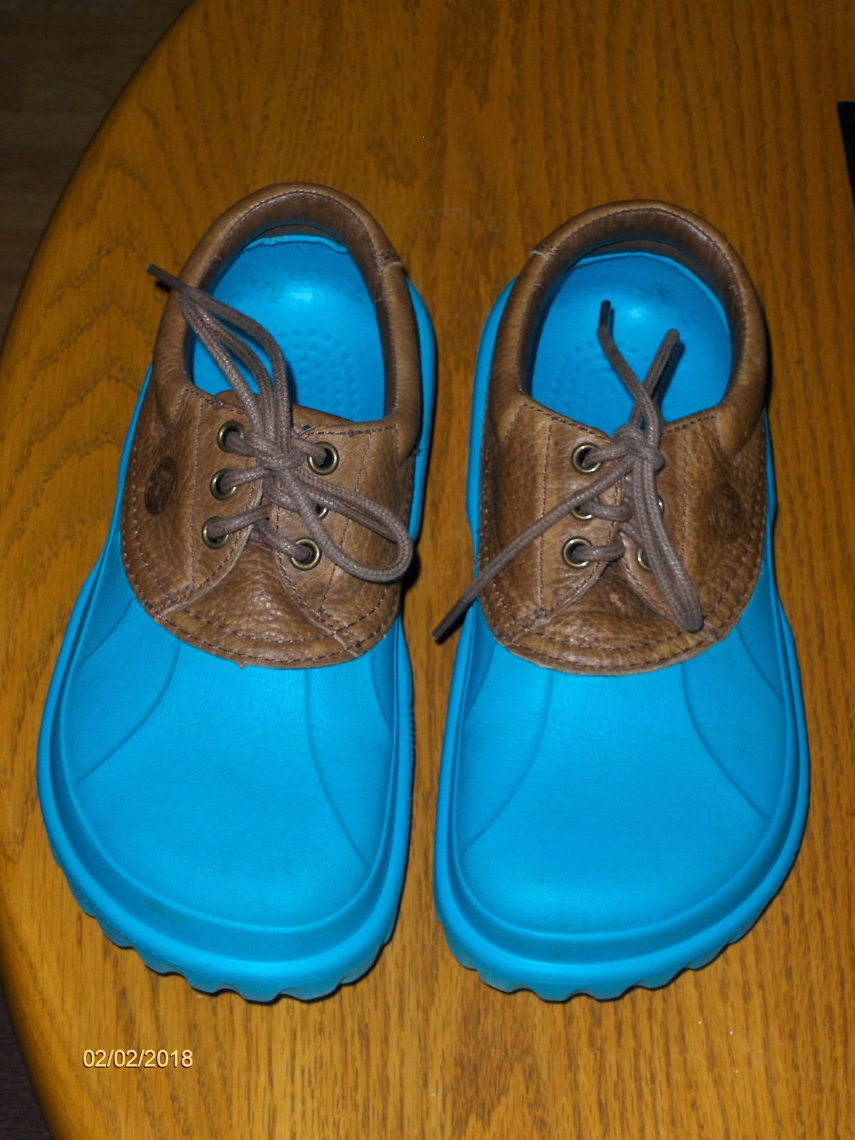 2009b5c74331c8 Crocs Axle All Terrain Blue Islander Boat Shoes Brown Leather Upper Womens  W8 M6