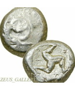 HOPLITE nude Greek Warrior, Triskeles 450 BC Aspendos Ancient Silver Sta... - $314.10
