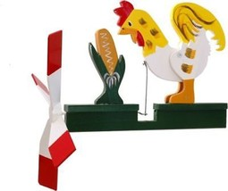 Rooster Eating Corn Wooden Wooden hand painted Whirligig....29 - $47.99