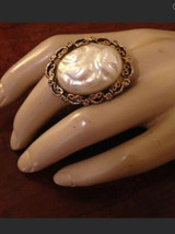 old Vintage  costume Faux Baroque pearl cocktail ring - $12.20
