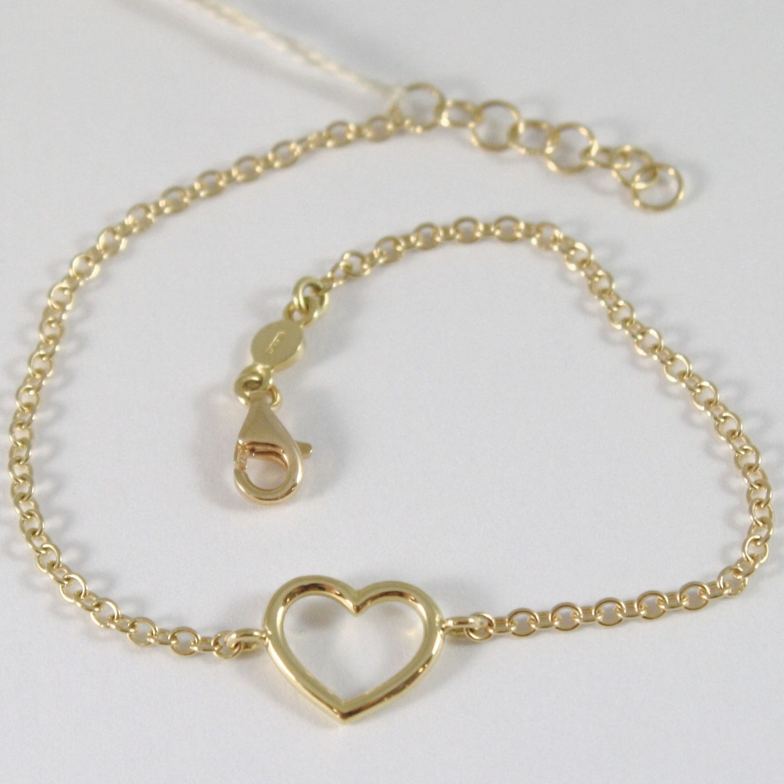 BRACELET YELLOW GOLD 750 18K WITH HEART TUBE, ROLO', 18 CM LENGTH