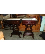 Pair of Mahogany Carved Lyre Base Marble Top End Tables / Side Tables   - $899.00