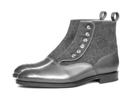 Handmade Men's Gray Leather Brogue Style Tweed Buttons Boots image 3