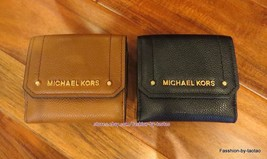 cc0307786f7a NWT Michael Kors HAYES Leather Medium Trifold Coin Purse Card Case Flap  Wallet - $37.99
