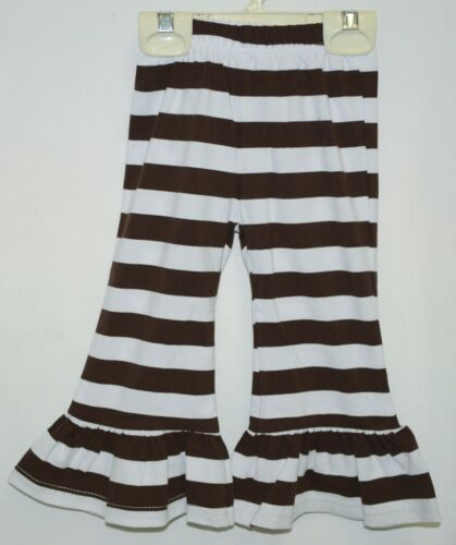 Blanks Boutique Brown White Ruffled Pants Cotton Spandex Size 12 Months