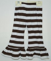 Blanks Boutique Brown White Ruffled Pants Cotton Spandex Size 12 Months image 1