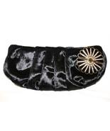 LUCA LUCA Black Velveteen Gold Enamel Crystal Flower Clutch Evening Bag ... - $114.00