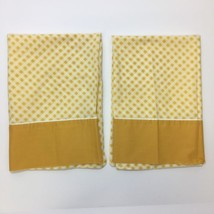 Vintage Cannon Monticello Pillowcases Gold Yellow Gingham Checkered Pair... - $12.82