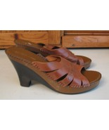 """Naturalizer SHOES Sexy Brown Leather MULES Woman's 6.5 M Heels 3.5"""" WOW - $13.85"""