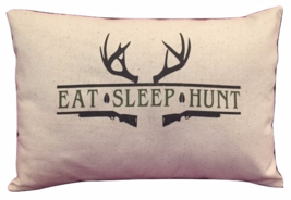 Eat Sleep Hunt Pillow, Deer or Duck version, dad father duck hunting - $22.00