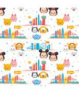 Disney Mickey Minnie Pooh Tsum Tsum Travel 100% Cotton Fabric by the yard - $7.48