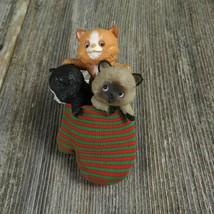 Three Kittens In Mitten Vintage Ornament Hallmark Christmas Cat Kitty 1984 - $36.99
