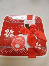 New ceramic Hallmark North Pole Spreader & Red Party Plate Christmas Gif... - $14.84