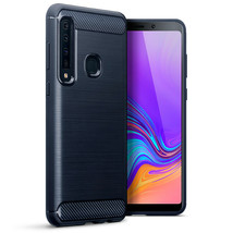 Samsung Galaxy A9 2018 Shockproof Carbon Fiber Fitted Case Bumper Dark Blue - $12.51