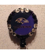 Nfl Baltimore Ravens Badge Reel Id Holder Swarovski purple black alligat... - $10.99