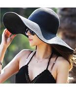 Women's hat summer black oversized sunbonnet beach cap straw sun summer ... - $14.49