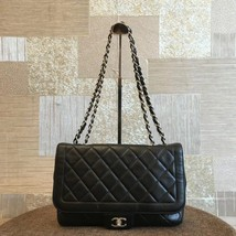Authentic Chanel Black Jumbo Quilted Lambskin Flap Bag Silver HW