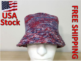 Designer's Knitted Bucket Hat, Beanie ~~ COLOR: Red / Blue - $10.87