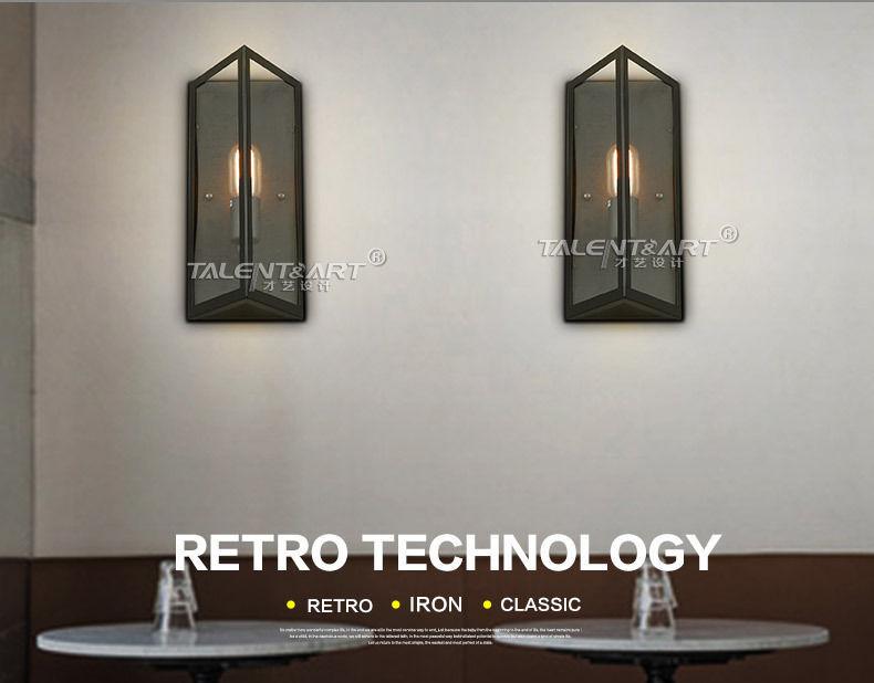 Retro Denton Glass Short Sconce E27 Light Wall Lamp Home Cafe Lighting Fixture