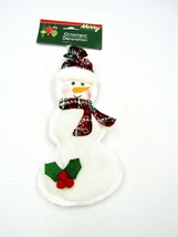 Merry Christmas House Fabric Snowman Christmas Ornament + Pin,  New - $10.84