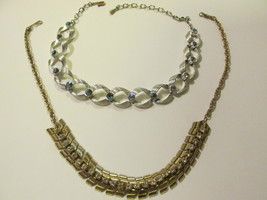 Vintage Rhinestone Necklaces, Gold Toned, Silver Toned with Aurora Borealis - $12.99