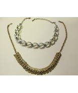 Vintage Rhinestone Necklaces, Gold Toned, Silver Toned with Aurora Borealis - $15.99