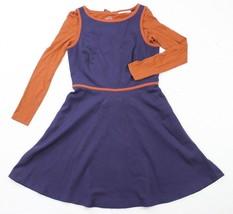 LOFT Ann Taylor Built In Long Sleeve Orange Shirt Navy Blue Dress Womens... - $19.24