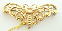 14k Yellow Gold Butterfly / Moth Watch Pin (#J2621) - $276.25