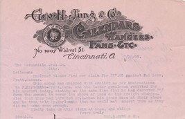 U. States Geo. H. Jung & Co. CinCinnati Calendars Etc Logo 1905 Letter R... - $9.95