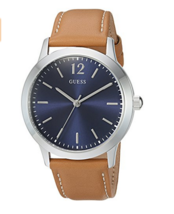 Guess Gents Exchange Brown Leather Strap Blue Dial W0922G8 Mens Watch - £48.78 GBP