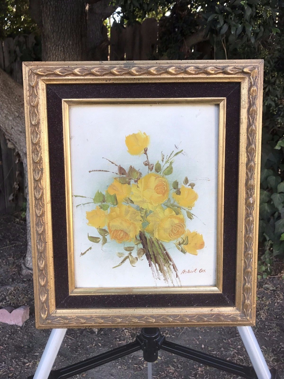 ROBERT COX Original Floral Oil Painting on Board 1970s Vintage Signed & Framed
