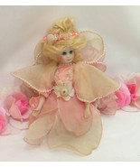 Vintage China Porcelain Fairy Doll Kneeing Pink Silky Dress Beeded Tule ... - $24.99