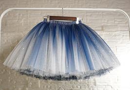 Women Girl Frozen Tutu Skirt Silver Blue Layered Puffy Tutu Skirt image 2