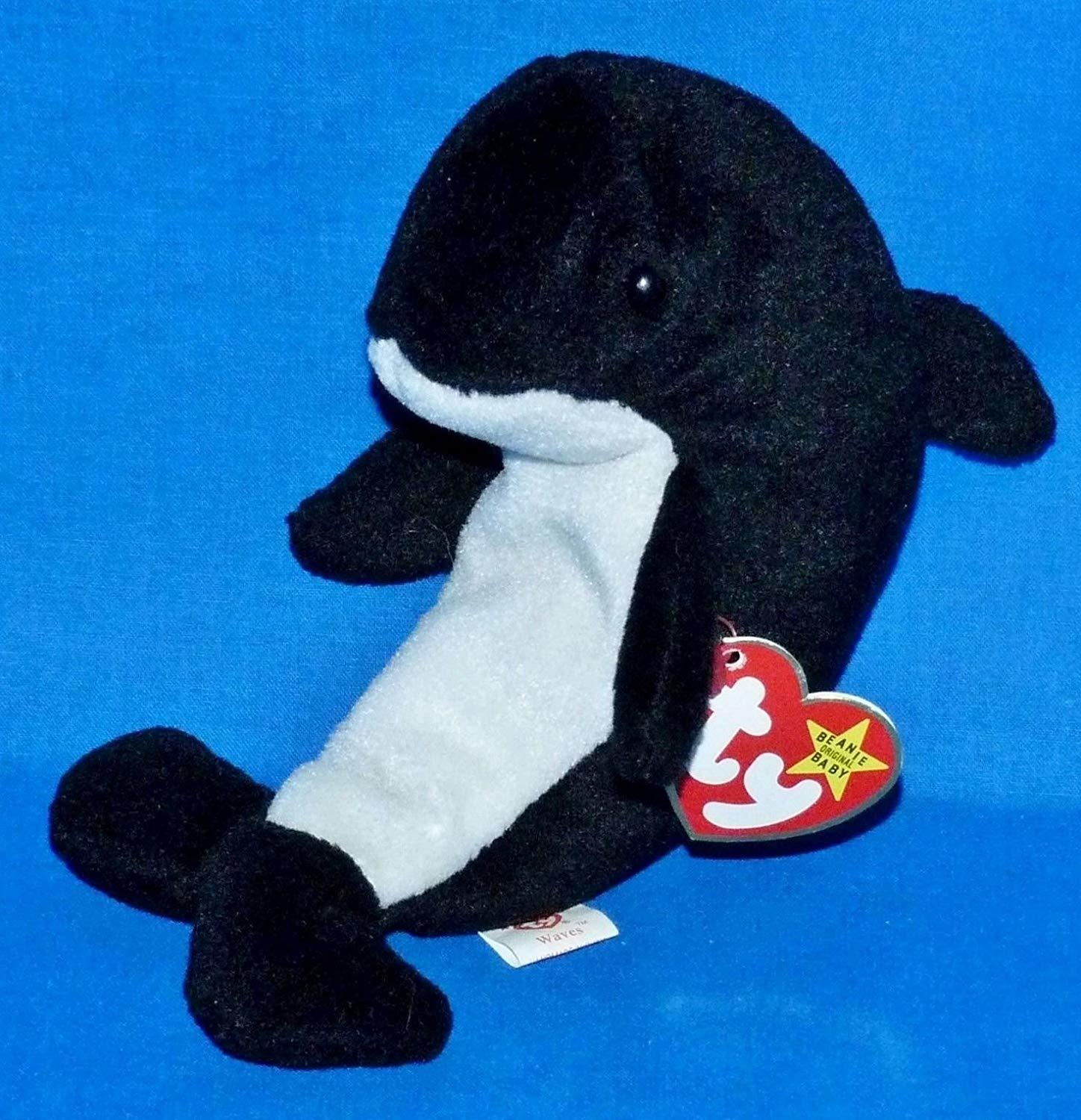 a15b6502dae ... Ty Beanie Babies - Waves the Orca Whale with Echo Tags Error Tags ...