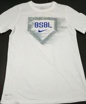 Nike Dri-Fit Boys Youth T-Shirt Baseball BSBL Size Medium White Athletic Cut New - $14.46