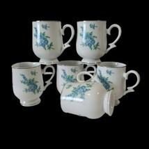 6 VTG Royalton China Co Translucent Porcelain Blue Floral Coffee Mugs Japan - $35.64
